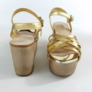 e3a629b2dafe Rachel Zoe Shoes - Rachel Zoe Mae Gold Wedge Sandals 7.5